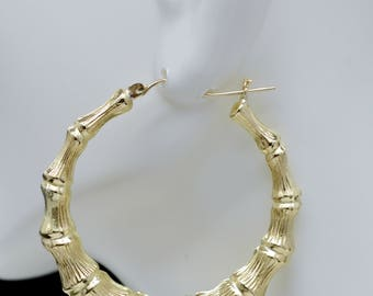 "REAL 14K Yellow Gold 2 "" 55mm Large Graduated Bamboo Hoop Earrings 9.6 gr"