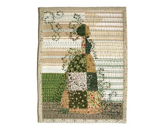 Lady in the garden textile art in Spring colors