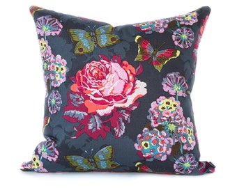 SALE pillow cover - Pink Dark Gray pillow - Bright Pink pillow - Bright floral pillow - Gray Grey pillow - Peony pillow - Mothers Day gift