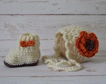 Crochet Baby Set, crochet baby girl, crochet hat, crochet baby boots, winter baby set, baby hat, baby booties set, baby boots, baby girl set