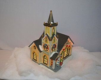 Handpainted Porcelain Church with Multi-Colored Flashing Lights