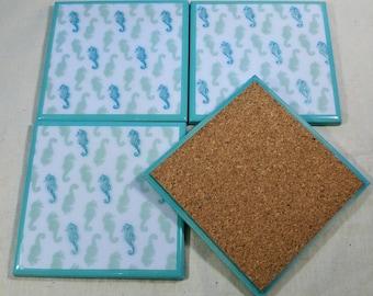 Seahorses on teal Tile Coasters