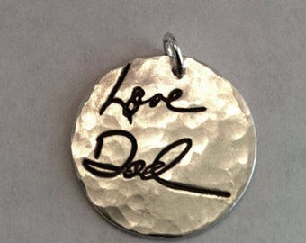 Memorial Jewelry Your Actual Loved Ones Writing Silver Pendant Made to Order