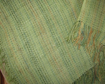 Hand woven blanket from hand spun yarns  Spring Green 41 x 50 plus fringe