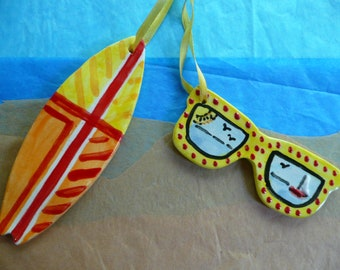 Sunglasses Surfboard Ornaments - summer vacation beach -  handmade ceramic