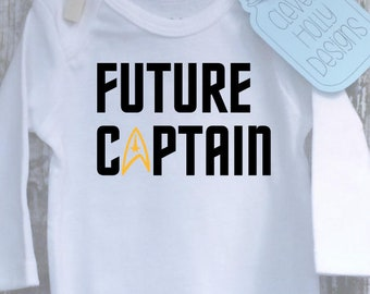 """Star Trek Baby Onesie \ Body Suit - """"Future Captain""""  A baby gift for the ultimate Trekkie baby. [new parents gift idea]"""