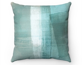 Teal Pillow Cover, Blue Green Pillow Cover, Teal Cushion Cover, Teal Decorative Pillow, Aqua Taupe Accent Pillows, Coastal Home Decor