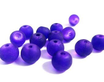 20 purple frosted beads dark glass 6mm (J-18)
