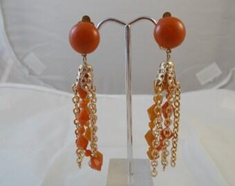 Carmel Colored Long Dangle Goldtone Chain Clip Back Earrings