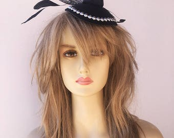Women's Fascinator Hat Delicate & Detailed With Feather Accents