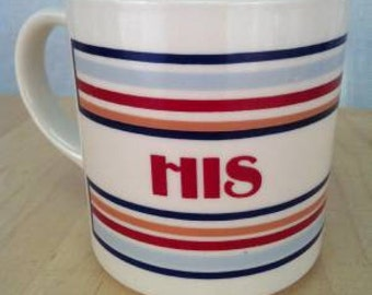 """Mt. Olemans Pottery """"His"""" coffee mug, red and blue stripes, 3.75"""" inches tall very good used condition"""