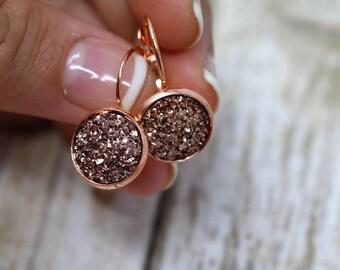 Rose Gold earrings druzy earrings rose gold dangle earrings sparkly earrings bridesmaid earrings druzy jewelry minimalist everyday earrings