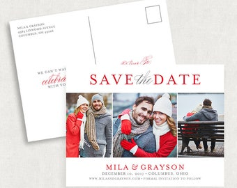 Red Save the Date Postcards, Printable Save the Dates, Printed Save the Dates, Photo Save the Dates, DIY Save the Dates, Red and Gray Cards