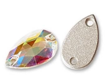 small Swarovski crystal pear crystal in clear ab 3230 - Sew On - 12x7mm