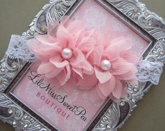 Pretty Pink Blossoms on White Stretch Lace, perfect for newborns and up, photographer, bebe, photo shoot, lace, by Lil Miss Sweet Pea