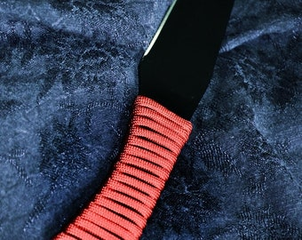 Black Blade, Soft Red Paracord Handle - Hand wrapped and sharpened BDSM sex toy!