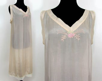 1940s silk nightgown in blush beige - semi sheer - S-M