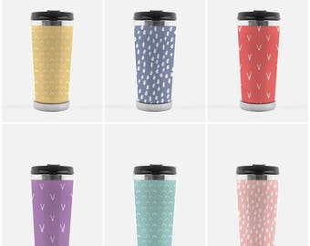Travel Coffee Mug Tumbler with Unique Hand Drawn Patterns