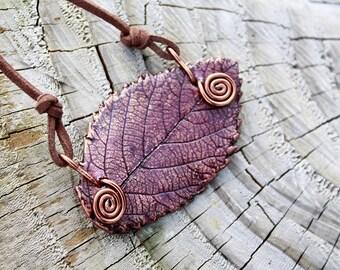 Leaf Necklace, Natural purple rowan leaf pendant, handmade rowan leaf ornament for nature lovers, violet leaf gift for botanical lovers