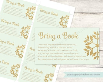 bring a book instead of a card insert printable baby shower DIY mint gold glitter snowflakes gender neutral digital - INSTANT DOWNLOAD