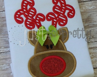 Little Reindeer Girl Embroidery Applique Design