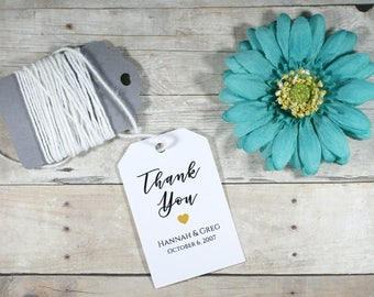 White Thank You Tags - Gold Heart Thank You Tags - Black Thank You Tags - Wedding Favors Tags - Custom Thank You Tags - Bridal Shower Ideas