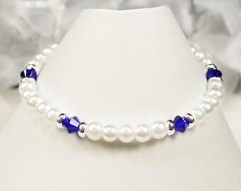 Flower Girl Bracelet, White Pearl, Royal Blue Cobalt Swarovski Crystals and Silver Flower Girl Bracelet, Little Girl Jewelry - Emy WFG0160