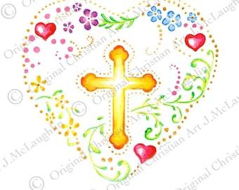 Digital Download, Folk Art Heart with Cross.