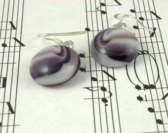Purple Fused Glass Earrings, Drop Dangle Earrings - Purple Lavender Grape Marble Swirl - 16mm Round Glass Cabochons