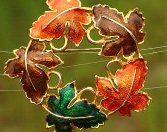 Vintage Colourful Autumn Leaves Brooch