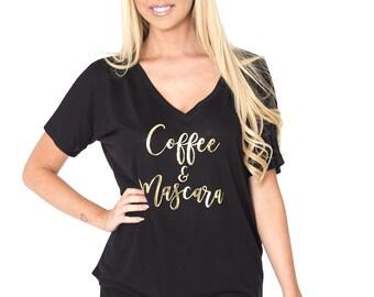 Coffee and mascara // Makeup / Boss girl /  Bridesmaid, Bachelorette Loose V-neck Tee / Gold Foil / 8815