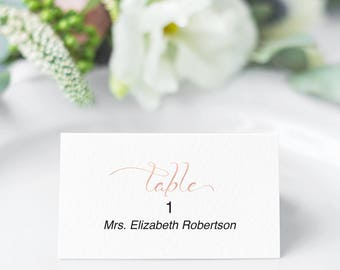 Place Cards Printable, Rose Gold Place Cards for Wedding, Reception, Place Card Template, PDF Instant Download 110RG