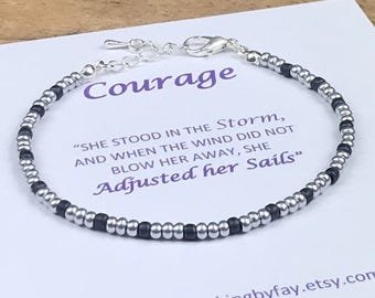 Grey & SILVER Seed Bead Friendship Bracelet, Courage, Boho Bracelet - UK Seller