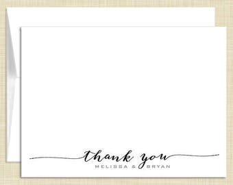 Personalized Thank You Note Cards Stationery Set - Calligraphy - set of 10 - personalized stationary folded cards - choose color