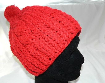 Crocheted Red Cabled Slouchy Beanie Hat with Pom