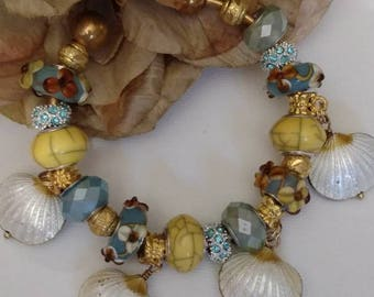 Bangle European Bracelets, Cloisonne Charms, Shell Charms, Beach Theme, Ambers and Floral, Lamp Work, Silver Bangles, 2 Styles Available