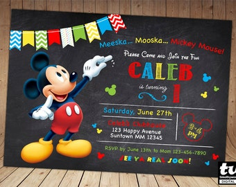 Mickey mouse invite Etsy