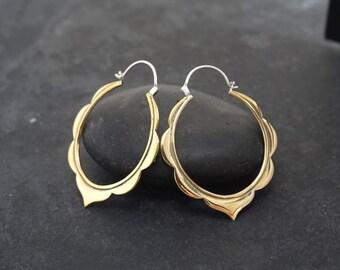 Boho Hoops - Moroccan Earrings - Large Hoop Earrings - Tribal Hoop Earrings - Big Brass Hoops - Gypsy Earrings - Oval Hoops - Statement
