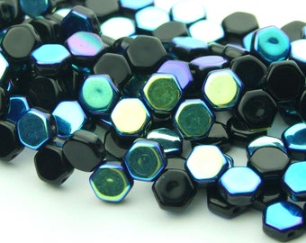 30x Czech Honeycomb Beads 6mm Hexagonal 2 Hole Black Ab