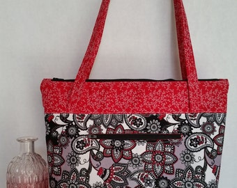 Zippered Large Purse / Small Tote - Black/White/Red Flower pattern with Red contrast/interior