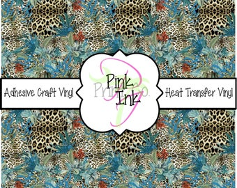 Into the Wild Teal Leopard Print Patterned Craft Vinyl and Heat Transfer Vinyl in pattern 750
