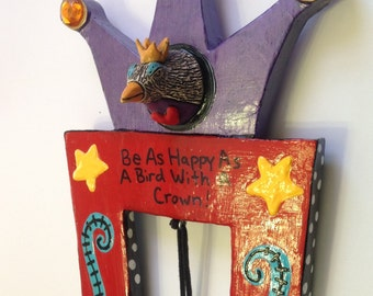 Happy Bird Ceramic and Wood Wall Art