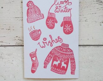 Winter Wishes card - Christmas Card - Christmas Jumper card - Warm wishes card - Red and White Christmas card