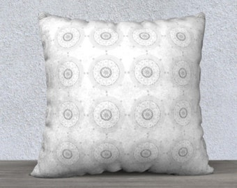 Gray Geometric Print Decorative pillow cover - gray and white pillow, throw pillow covers, grey cushion cover, hand painted accent pillow