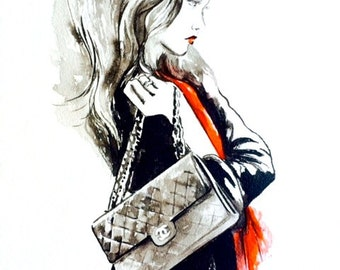 Chanel Girl, Watercolor Painting of Women, Paris Travel Print, Print of Fashion Watercolor Illustration, Parisian Wanderlust by Lana Moes