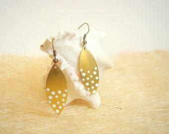 Brass Geometric  Earrings ,Dot Earrings,Geometric Jewelry
