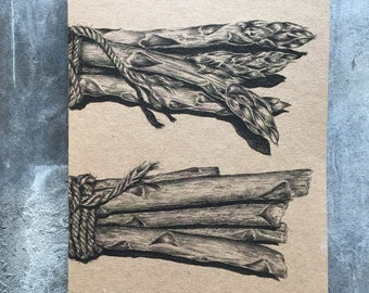 A5 kraft notebook asparagus pencil drawing