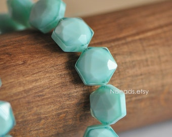 24 beads Faceted Hexagon Crystal Glass Beads 14x11mm, Candy Color Light Aqua (TS78-1)