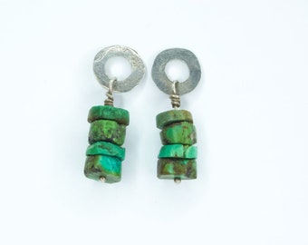 Vintage Handmade Sterling Silver and Green Turquoise Nugget Earrings