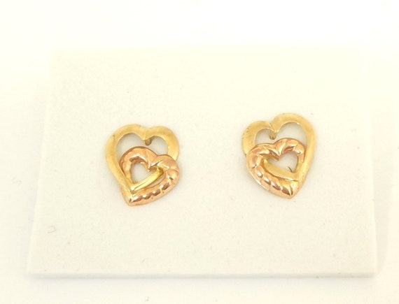 14K Double Heart Post Earrings Vintage Yellow and Rose Gold